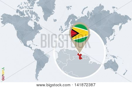 Abstract Blue World Map With Magnified Guyana.