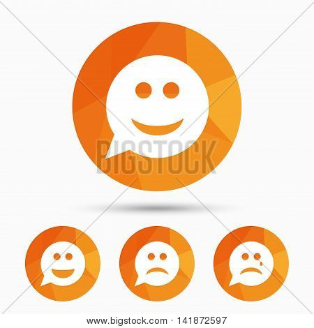 Speech bubble smile face icons. Happy, sad, cry signs. Happy smiley chat symbol. Sadness depression and crying signs. Triangular low poly buttons with shadow. Vector