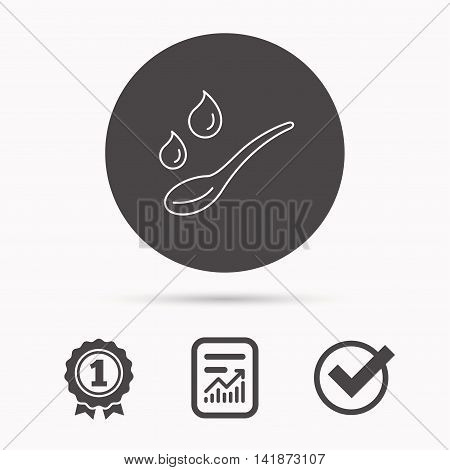 Spoon with water drops icon. Baby medicine dose sign. Child food symbol. Report document, winner award and tick. Round circle button with icon. Vector
