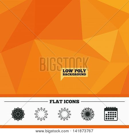 Triangular low poly orange background. Snowflakes artistic icons. Air conditioning signs. Christmas and New year winter symbols. Frozen weather. Calendar flat icon. Vector