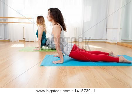 Portrait of flexible yogini doing asana bhujangasana in yoga studio, cobra pose, yoga indoor
