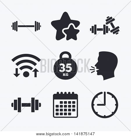 Dumbbells sign icons. Fitness sport symbols. Gym workout equipment. Wifi internet, favorite stars, calendar and clock. Talking head. Vector