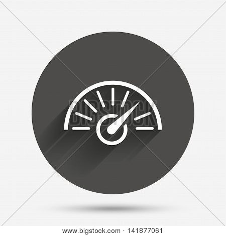 Tachometer sign icon. Revolution-counter symbol. Car speedometer performance. Circle flat button with shadow. Vector