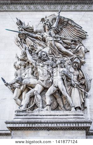 A detail from the famous Arch of Triumph (arc de triomph) in Paris