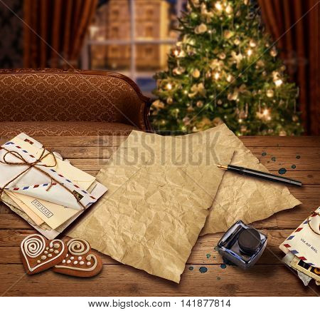 Christmas wish present list letter to Santa on christmas tree background