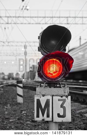Red Semaphore Signal On Railway In Evening