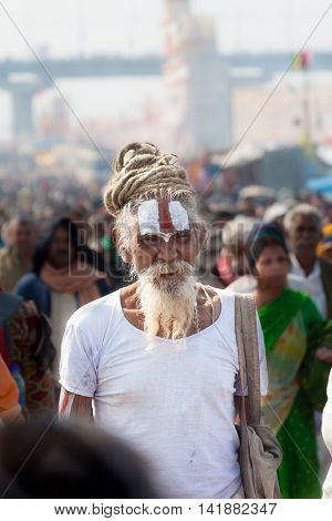FEB 9th 2013- ALLAHABAD, INDIA - An old sadhu sporting Vaishnava tilak at the Kumbha Mela in Allahabad.