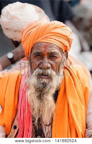 ALLAHABAD, INDIA - FEB 12th - An old sadhu at the Kumbha Mela on February 12th 2013