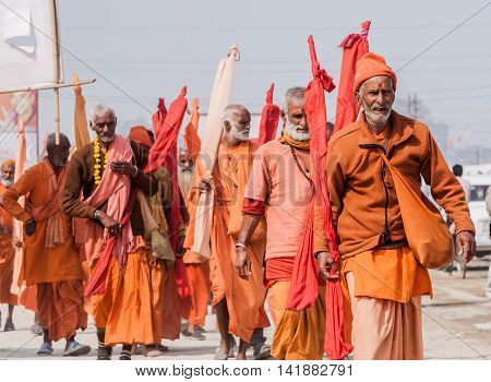 ALLAHABAD, INDIA - FEB 13th - A group of sannyasis (monks) of the Shankara Order walking at  the Kumbha Mela on February 13th 2013