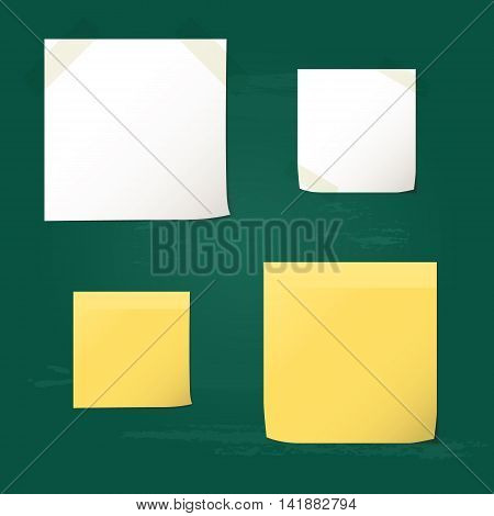 White and yellow folded paper set collections and element for attaching paperclip. Isolated on green chalkboard background.Vector illustration.
