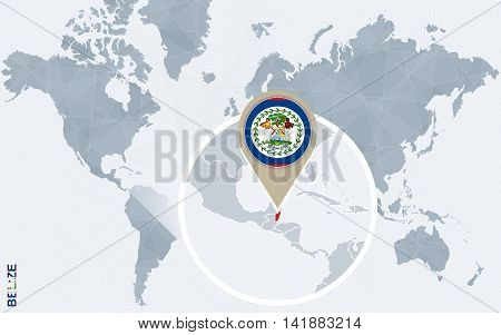 Abstract Blue World Map With Magnified Belize.