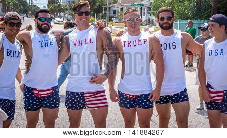 Daytona Beach, FL - August 3, 2016: Supporters gather at a Donald Trump rally in Daytona Beach.  Six veterans show their support by wearing matching outfits.
