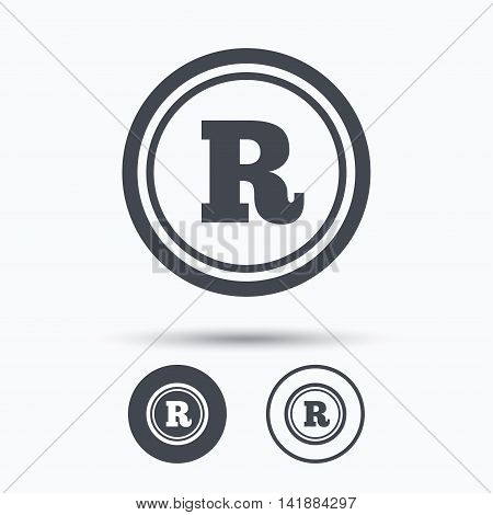 Registered trademark icon. Intellectual work protection symbol. Circle buttons with flat web icon on white background. Vector