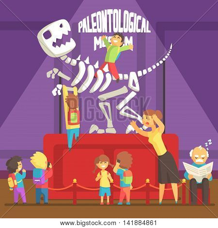 Group Of Kids Making A Mess In Paleontology Museum With T-rex Skeleton.Bright Color Vector Illustration In Funky Geometric Style.