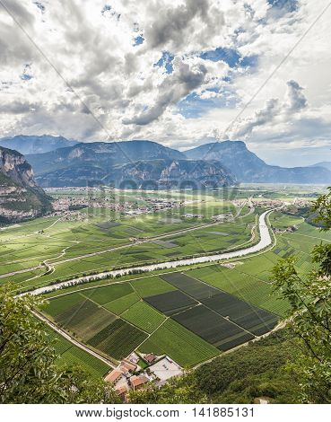 Mountain Landscape With Wineries In Trento, Italy