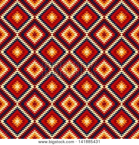 Colorful red yellow blue aztec ornaments geometric ethnic seamless pattern, vector background