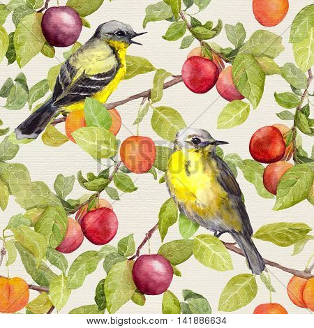 Fruits and birds - garden with plum, cherry, apples. Seamless pattern. Watercolor