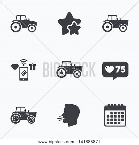 Tractor icons. Agricultural industry transport symbols. Flat talking head, calendar icons. Stars, like counter icons. Vector