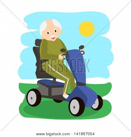 Senior Man on a Mobility Scooter. Elderly people moving on scooter. Elderly transport.