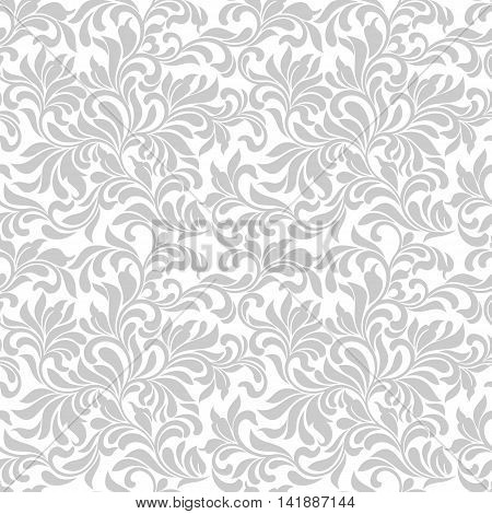 Seamless Pattern. Tracery Of Gray Floral Abstract Element On A White Background. Vintage Style. The