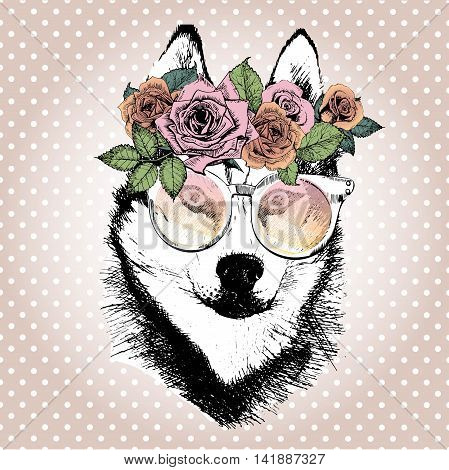 Vecotr portrait of dog wearing the floral wreath and sunglasses. Hand drawn vintage trendy illustration. Siberian husky breed. Isolated on polka dot and rose gold background.