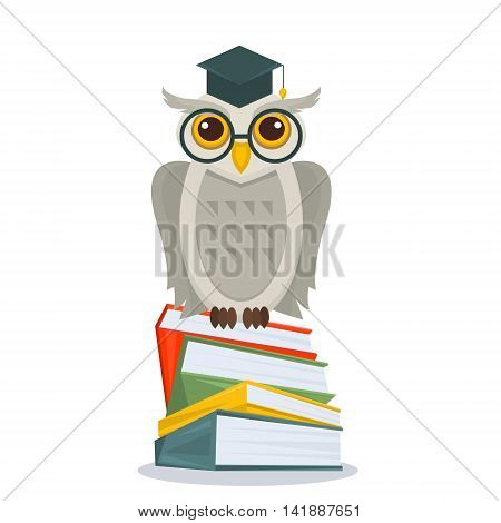Owl in glasses and in academic hat sitting on books stack. Owl on books isolated. Education concept with owl. Vector illustration