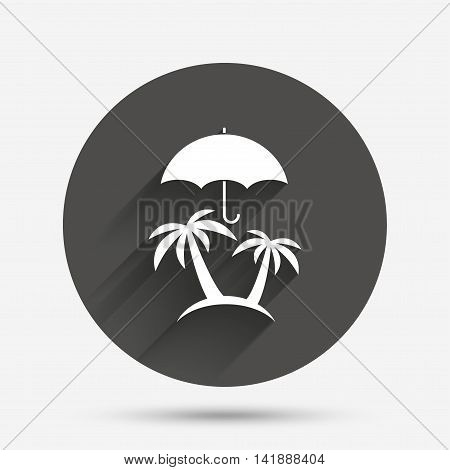 Trip insurance sign icon. Safe travel symbol. Circle flat button with shadow. Vector