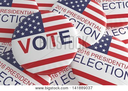Pile of Presidential Election 2016 Vote Badges 3d illustration