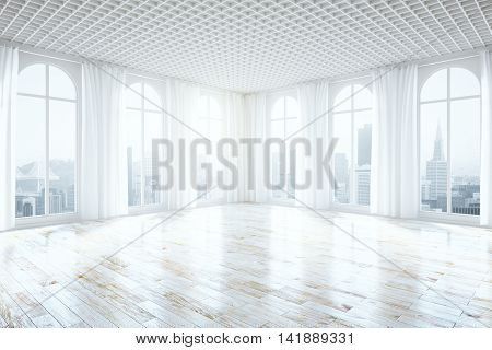 Side view of unfurnished bright interior with wooden floor curtains and tall windows with city view. 3D Rendering