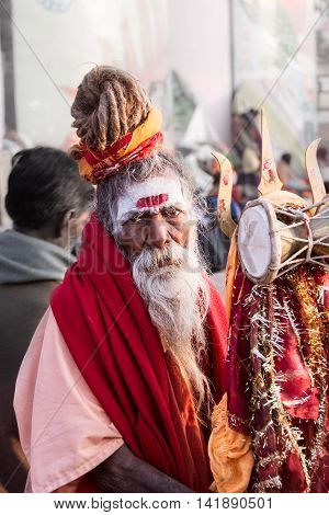 VARANASI, INDIA - FEB 18 - An old sadhu with dreadlocks in Varanasi on February 18th 2013
