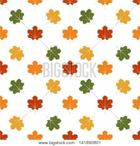 Seamless pattern of autumn leaves. Seamless pattern included in swatch panel.Green, orange, maroon yellow maple leaves.Vector background