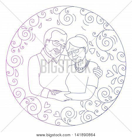 Smiling grandmother and grandfather hugging  in a round frame of curls and hearts. Grandparents day card.Line style. Vector illustration.
