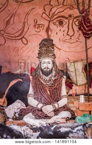 Naga Wearing Rudraksha Beads