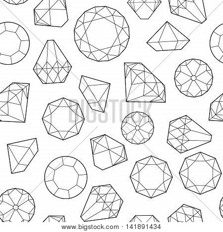 Seamless pattern with diamonds and crystals on white