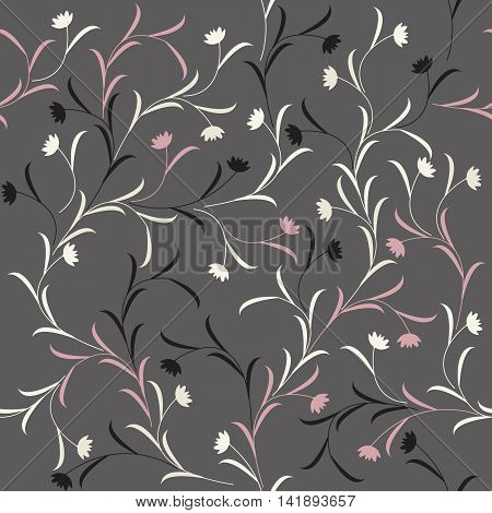 Beautiful seamless pattern with flowers and leaves on grey background. Perfect for greeting cards and invitations to the day of the wedding, birthday and more designs.