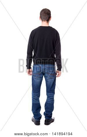 Back View Of Middle Aged Man Isolated On White