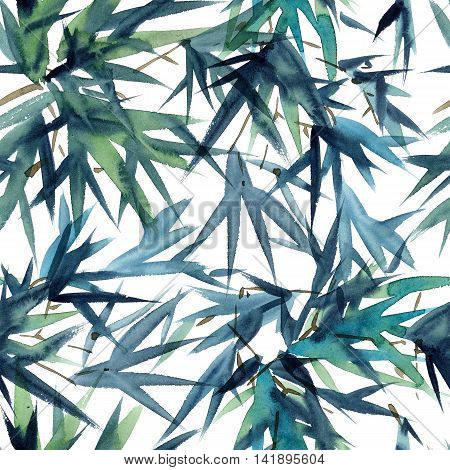 Watercolor and ink bamboo leaves pattern in style sumi-e u-sin. Oriental traditional painting. Seamless pattern.
