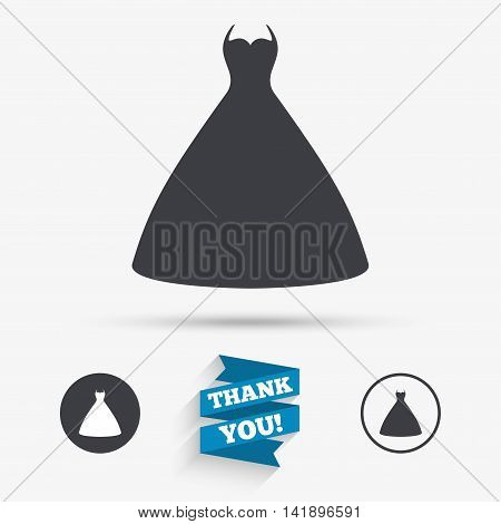 Woman dress sign icon. Elegant bride symbol. Flat icons. Buttons with icons. Thank you ribbon. Vector