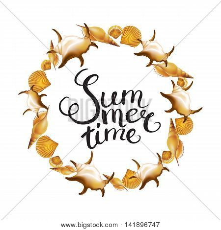 """Frame with Hand Drawn Calligraphic Word """"Summer time"""" on white background. Vector illustration."""