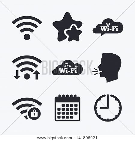 Free Wifi Wireless Network cloud speech bubble icons. Wi-fi zone locked symbols. Password protected Wi-fi sign. Wifi internet, favorite stars, calendar and clock. Talking head. Vector