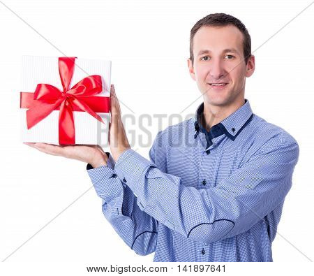 Middle Aged Man With Gift Box Isolated On White