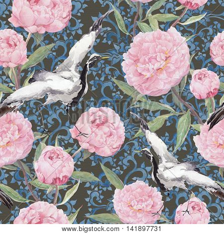 Crane birds dance in pink peony flowers. Floral repeating asian pattern with traditional ornament of China. Watercolor