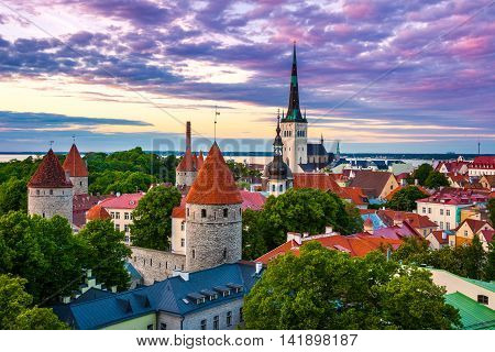 Cityscape of old town Tallinn city at dusk Estonia