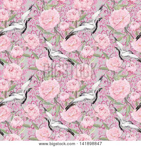 Crane birds dance in pink flowers. Floral repeating pattern with decorative ornate ornament. Watercolor