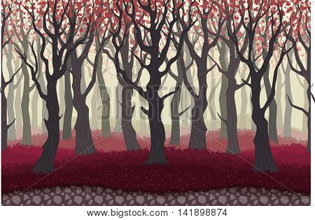 Parallax Cartoon Misterious Forest Landscape Nature Vector Illustration. Seamless Background With Tr