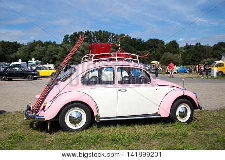 Celle, Germany - August 7, 2016: A pink Volkswagen Kaefer at the annual Kaefer Meeting
