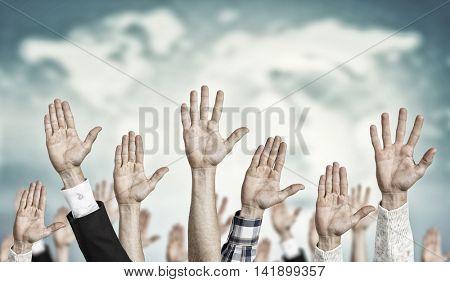 Hand gestures in arow . Mixed media