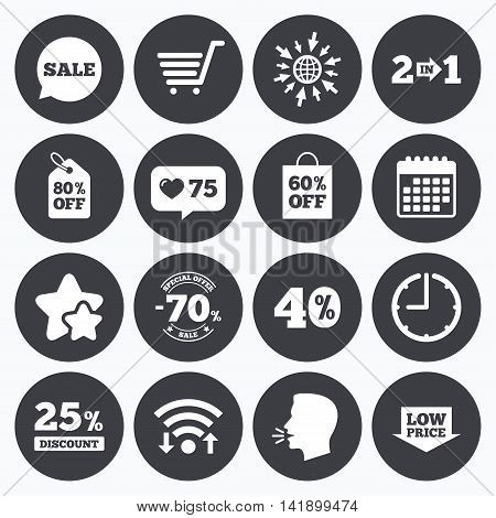 Calendar, wifi and clock symbols. Like counter, stars symbols. Sale discounts icon. Shopping cart, coupon and low price signs. 25, 40 and 60 percent off. Special offer symbols. Talking head, go to web symbols. Vector