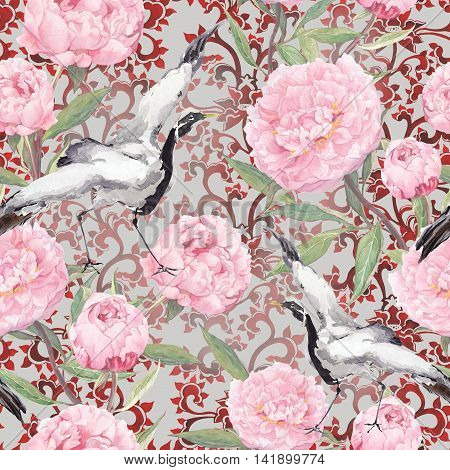 Crane birds dance in pink peony flowers. Floral seamless pattern with japanese decorative ornament. Watercolor