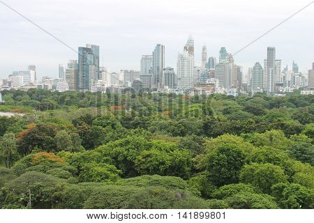 View of Bangkok Thailand across Lumpini Park